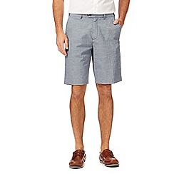 Maine New England - Big and tall blue linen blend striped chino shorts