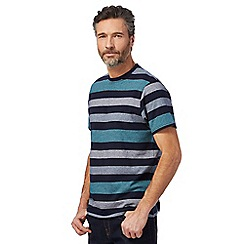 Maine New England - Big and tall navy block striped print t-shirt