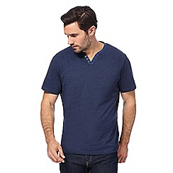 Maine New England - Big and tall navy notch neck striped t-shirt