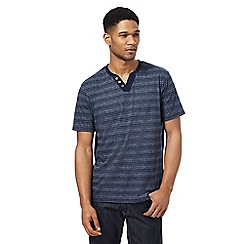 Maine New England - Big and tall navy 'grindle' tonal stripe t-shirt