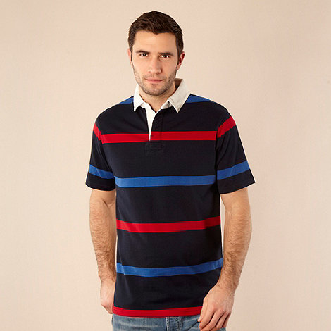Maine New England - Big and tall navy bar striped polo shirt