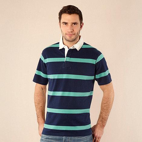 Maine New England - Big and tall dark blue bar striped polo shirt