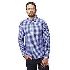 Maine New England - Navy check print tailored button down shirt