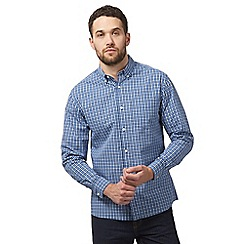 Maine New England - Big and tall blue button down check print shirt