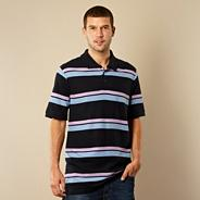 Navy two tone striped pique polo shirt