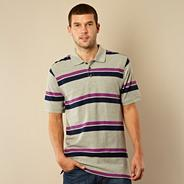 Grey two tone striped pique polo shirt