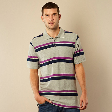 Maine New England - Big and tall grey two tone striped pique polo shirt