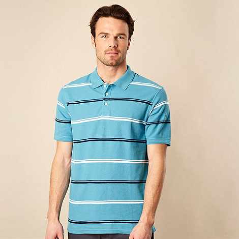 Maine New England - Turquoise double tram striped pique polo shirt