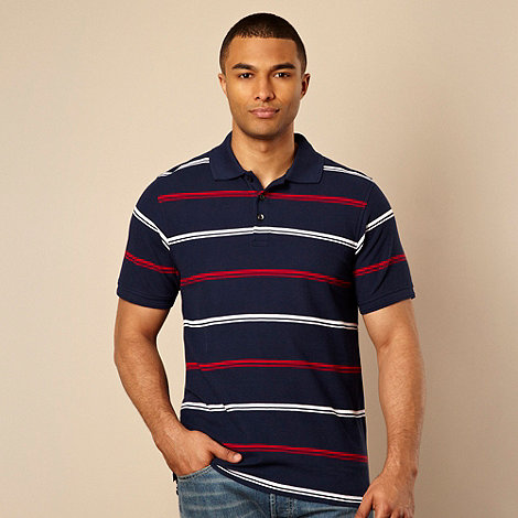 Maine New England - Big and tall navy double striped pique polo shirt