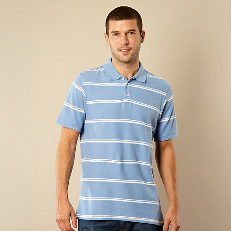 Maine New England - Pale blue double tram striped polo shirt