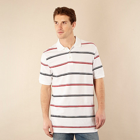 null - White dual striped polo shirt