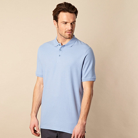 Maine New England - Pale blue plain pique polo shirt