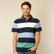 Big and tall blue block striped rugby shirt