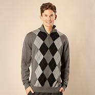 Big and tall grey argyle zip neck jumper