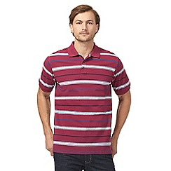 Maine New England - Big and tall dark pink striped polo shirt