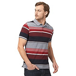 Maine New England - Big and tall navy and red striped tailored polo shirt