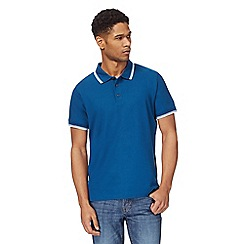 Maine New England - Dark blue textured tailored fit polo shirt
