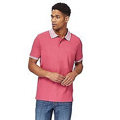 Maine New England - Dark pink textured polo shirt