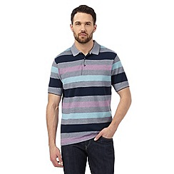Maine New England - Big and tall dark blue striped polo shirt