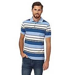 Maine New England - Big and tall blue striped print polo shirt