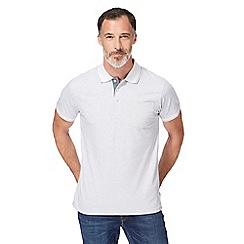 Maine New England - Big and tall white fine striped tailored fit polo shirt