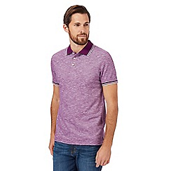 Maine New England - Big and tall purple textured tipped tailored polo shirt