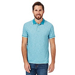 Maine New England - Turquoise textured tipped tailored polo shirt