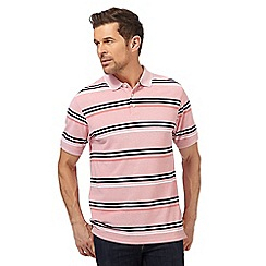 Maine New England - Big and tall light pink striped textured polo shirt