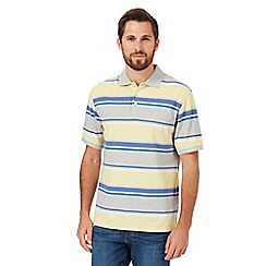 Maine New England - Big and tall yellow textured striped classic fit polo shirt