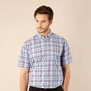 Big and tall light blue textured checked shirt