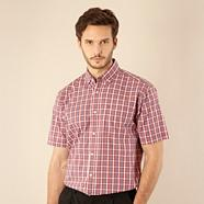 Red textured checked shirt