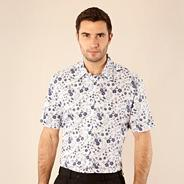 Big and tall navy reverse floral printed shirt
