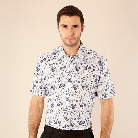 Maine New England - Navy reverse floral printed shirt