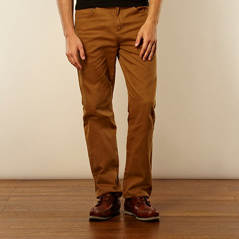 Maine New England - Big and tall dark tan heavy brushed twill trousers