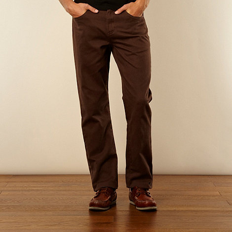 Maine New England - Dark brown heavy brushed twill trousers