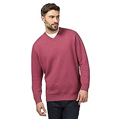 Maine New England - Big and tall dark pink v neck jumper