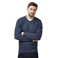 Maine New England - Big and tall navy v neck jumper