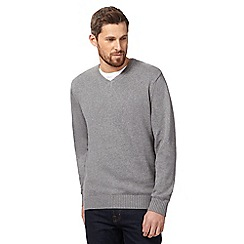 Maine New England - Big and tall grey v neck jumper