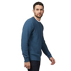 Maine New England - Blue textured crew neck jumper