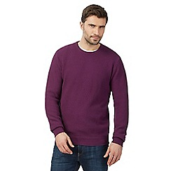 Maine New England - Big and tall purple textured crew neck jumper