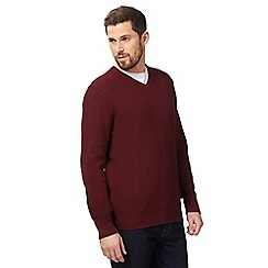 Maine New England - Big and tall dark red textured v neck jumper