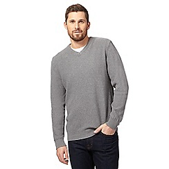 Maine New England - Big and tall grey textured v neck jumper