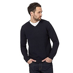 Maine New England - Navy textured V neck jumper