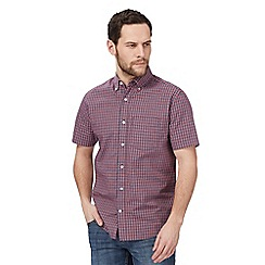 Maine New England - Big and tall red mini grid check print short sleeve shirt