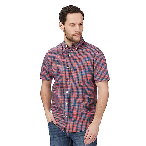 Maine New England - Red mini grid check print short sleeve shirt