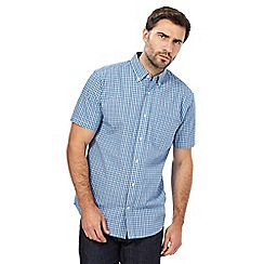 Maine New England - Big and tall blue box checked short-sleeve shirt