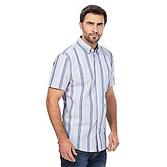 Maine New England - Big and tall blue stripe print short-sleeved shirt