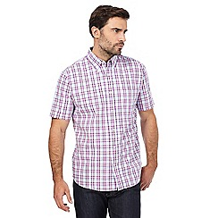 Maine New England - Big and tall wine grid check short-sleeved shirt