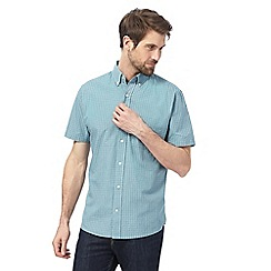 Maine New England - Big and tall light turquoise grid checked shirt