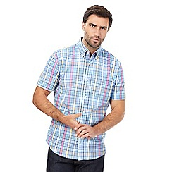 Maine New England - Bright blue check print short-sleeved shirt